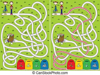 labyrinth, mülltrennung