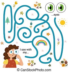 Labyrinth maze game for kids - Sight. I see with my eyes. Five senses learning activity page