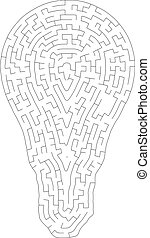 Labyrinth maze outline of  bulb isolated on white background, idea concept
