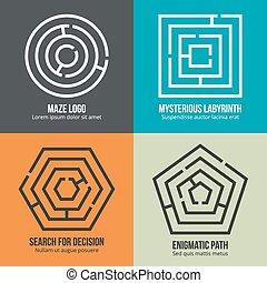Labyrinth, maze shape logo design vector set