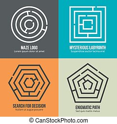 Labyrinth, maze shape logo design vector set
