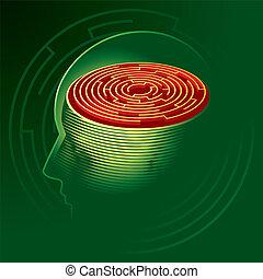 Labyrinth Mind. Human head psychology symbol. Vector Illustration