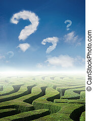 labyrinth of Questions - Conceptual photo with a maze and...