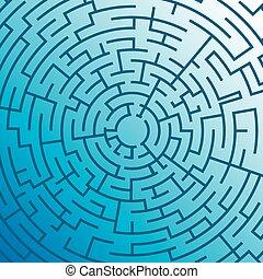 Labyrinth on blue background. Illustration Vector.