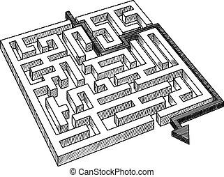 Sketch of labyrinth or maze, solved by arrow, showing a workaround solution, for success theme design