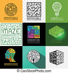 labyrinth, puzzel, vektor, sammlung