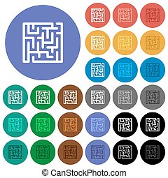 Labyrinth round flat multi colored icons