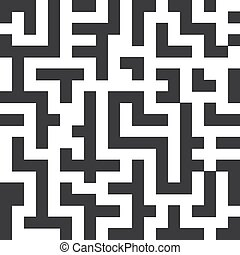 Labyrinth seamless pattern. The black lines on white background. Vector