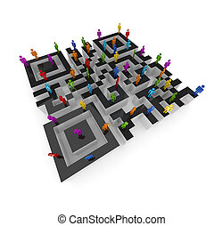 Labyrinth shape of QR code. - Labyrinth shape of QR code and...