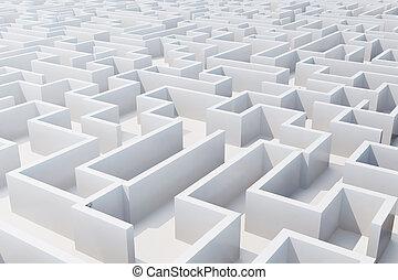 labyrinth., sommet, rendre, blanc, vue, 3d