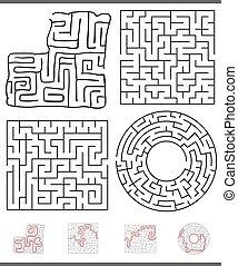 labyrinth, spiel, satz, freizeit, grafik