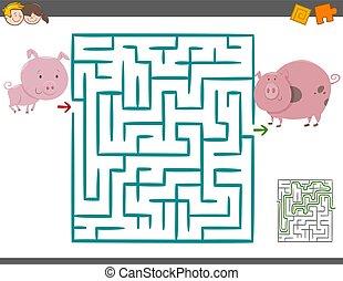 labyrinth, spiel, schweine, freizeit