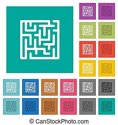 Labyrinth square flat multi colored icons