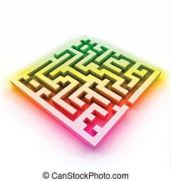 (labyrinth), vecteur, coloré, labyrinthe