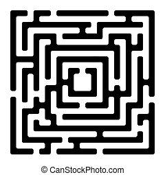 labyrinth, weißes, izolated, rechteck