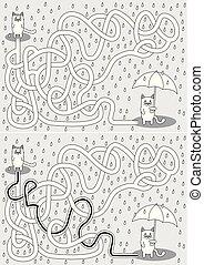 labyrinth, wenig, katz