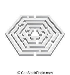 Labyrinth - White 3d labyrinth in hexagon shape on white...