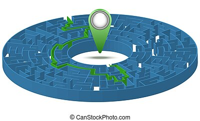 Labyrinth with a solution and a label. Vector illustration. 3D image.