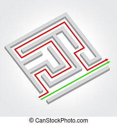 Labyrinth with arrow. Vector illustration. Business concept