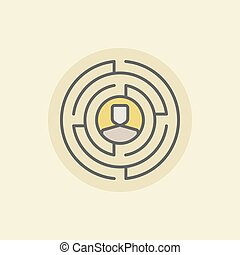 Labyrinth with man icon