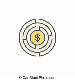 Labyrinth with money icon