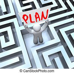 labyrinth, zeichen, plan, besitz, labyrinth, mann