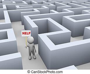 labyrinthe, 3d, aide, homme, appeler