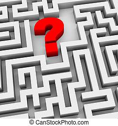 labyrinthe, 3d, point interrogation