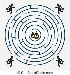labyrinthe, argent, courant, -