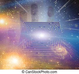 labyrinthe, autre, étoiles, éléments