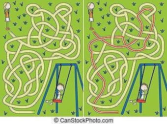 labyrinthe, balançoire