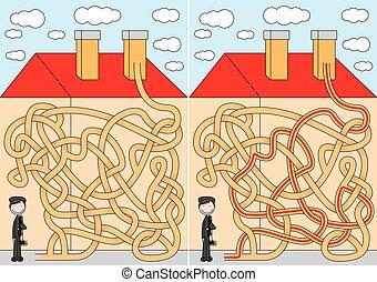 labyrinthe, balayeur, cheminée
