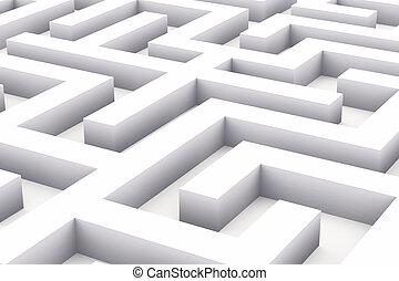 labyrinthe, blanc, interminable