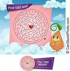 labyrinthe, bonne manière, cœurs