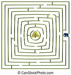 labyrinthe, carrée, rond