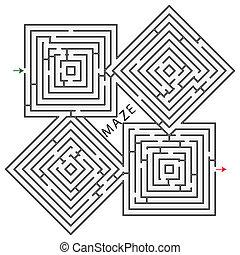 labyrinthe, carrés