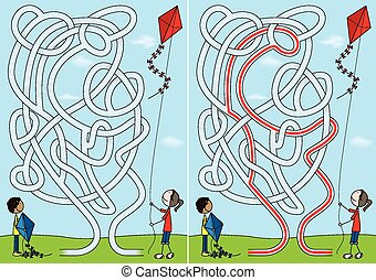 labyrinthe, cerf volant