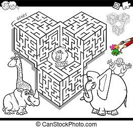 labyrinthe, coloration, animaux, livre, safari