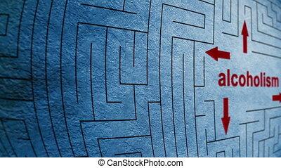 labyrinthe, concept, alcoolisme