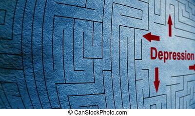 labyrinthe, concept, dépression