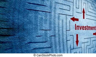 labyrinthe, concept, investissement