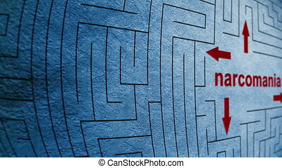 labyrinthe, concept, narcomania