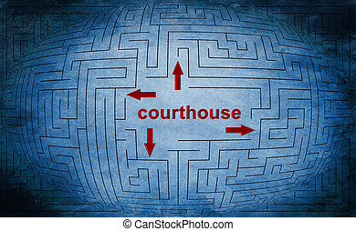labyrinthe, concept, tribunal
