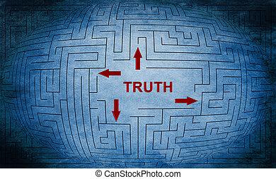 labyrinthe, concept, vérité