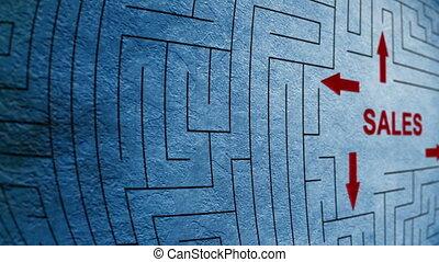 labyrinthe, concept, ventes