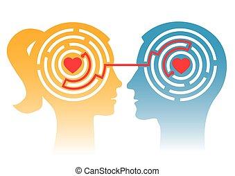 labyrinthe, couple, love., aimer
