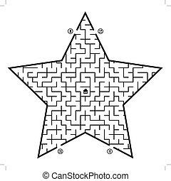 labyrinthe, dans, étoile