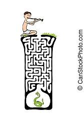 labyrinthe, fakir, vecteur, serpent, labyrinthe