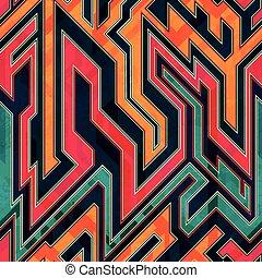 labyrinthe, fantastique, seamless, modèle