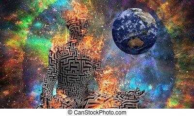 labyrinthe, figure, modèle, lotus pose, brûlé, homme